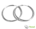 Round Contemporary Silver Hoop Earrings