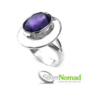 925 Sterling Silver Nomad Large Amethyst Ring