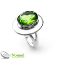 925 Sterling Silver Nomad Large Peridot Ring
