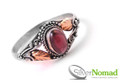 925 Sterling Silver Nomad Filigree Gold Garnet Ring