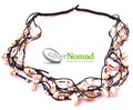 Silver Nomad Layered Shell and Bead Beach Necklace Black