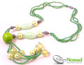 Silver Nomad Beaded Green White Sphere Necklace