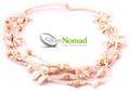 Silver Nomad Layered Shell and Bead Beach Necklace White