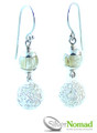 925 Sterling Silver Nomad Electric Sphere Fluorite Drop Earrings