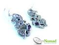 925 Sterling Silver Nomad Twin Butterfly Amethyst Earrings