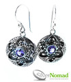 925 Sterling Silver Nomad Lotus Flower Amethyst Earrings