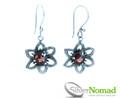 925 Sterling Silver Nomad Garnet Flower Earrings