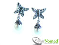925 Sterling Silver Nomad Pearl Drop Butterfly Earrings