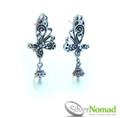 925 Sterling Silver Nomad Pearl Drop Angled Butterfly Earrings