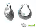 925 Sterling Silver Nomad Grooved Crescent Lever Back Earrings