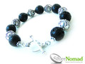 925 Sterling Silver Nomad Volcanic Lava and Sphere Bracelet