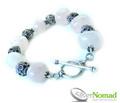 925 Sterling Silver Nomad Rose Quartz and Bali Bead Bracelet