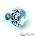 925 Sterling Silver Nomad Abstract Wave Gemstone Ring