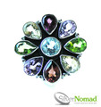925 Sterling Silver Nomad Rainbow Gemstone Flower Ring