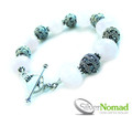 925 Sterling Silver Nomad Rose Quartz and Bali Bead Bracelet V4