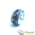 925 Sterling Silver Nomad Filigree Scroll Cuff Bangle with Topaz