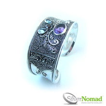 925 Sterling Silver Nomad Barong Multi Gem Cuff Bangle