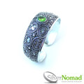 925 Sterling Silver Nomad Filigree Crescent Peridot Bangle