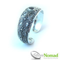 925 Sterling Silver Nomad Filigree Crescent Garnet Bangle