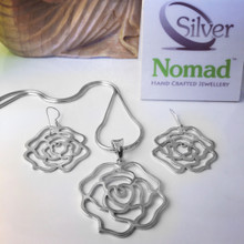 925 Sterling Silver Rose Pendant and Earring Set.