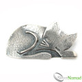 925 Sterling Silver Sleeping Cat Brooch