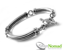 925 Sterling Silver Nomad Ladies Trinity Bracelet - 3 sectional bracelet with central chevron detailing and a T-Bar clasp.