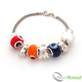 925 Sterling Silver Multi Charm and Bead Bracelet
