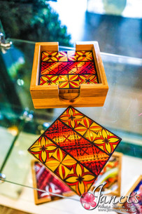 Bamboo Coloured Coaster Set HW40-Red