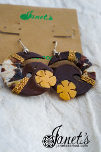 Janet's Samoa Tapa Covered Coconut Earrings