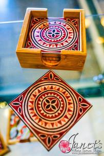 Bamboo Coloured Coaster Set HW40-Round