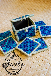 Pandanus Coaster Set w/ Box CW46-SET Blu