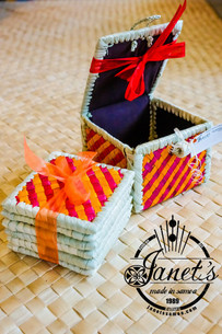 Pandanus Coaster Set w/ Box CW46-SET Orange