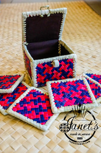 Pandanus Coaster Set w/ Box CW46-SET Red