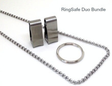 "RingSafe Duo Bundle includes 2 stainless steel RingSafes, a Link Chain in either 19.5"" or 24"" length and one standard keyring."