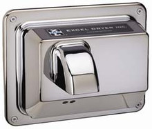 CAST Series R76-IC Hands Off Hand Dryer from Excel Dryer - Die-cast Zinc Alloy, Plated Chrome Hand Dryer, Automatic, Recessed Mount