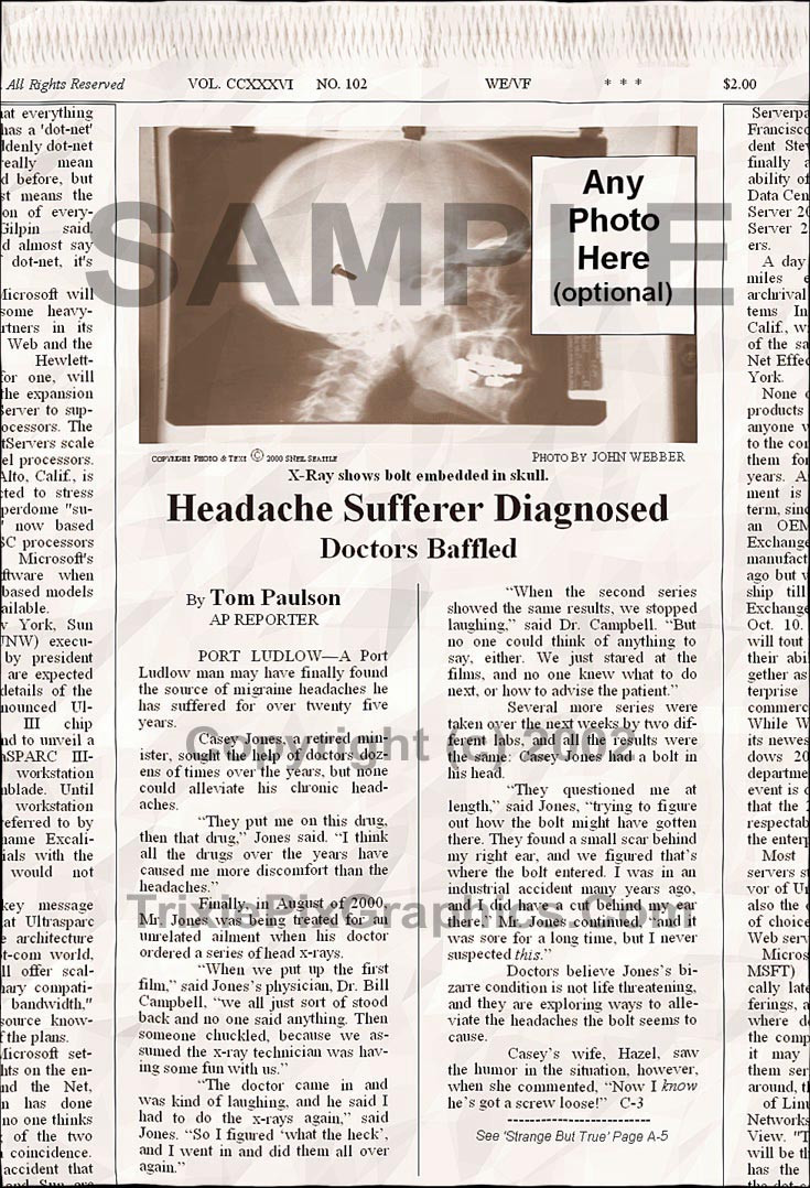 Fake Joke Newspaper Article HEADACHE SUFFERER DIAGNOSED