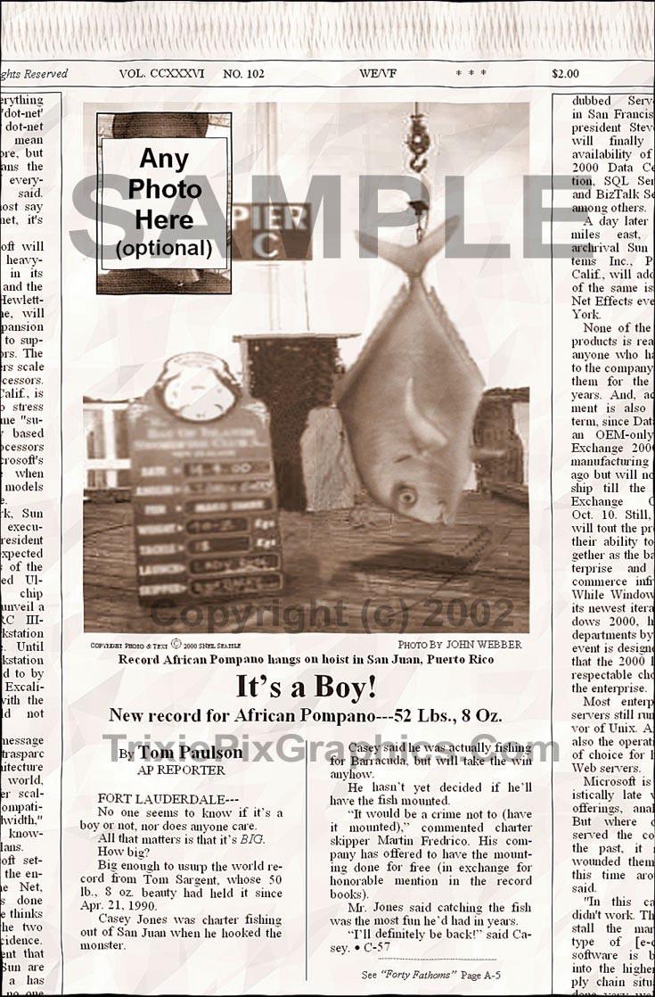 Fake Joke Newspaper Article IT'S A BOY!