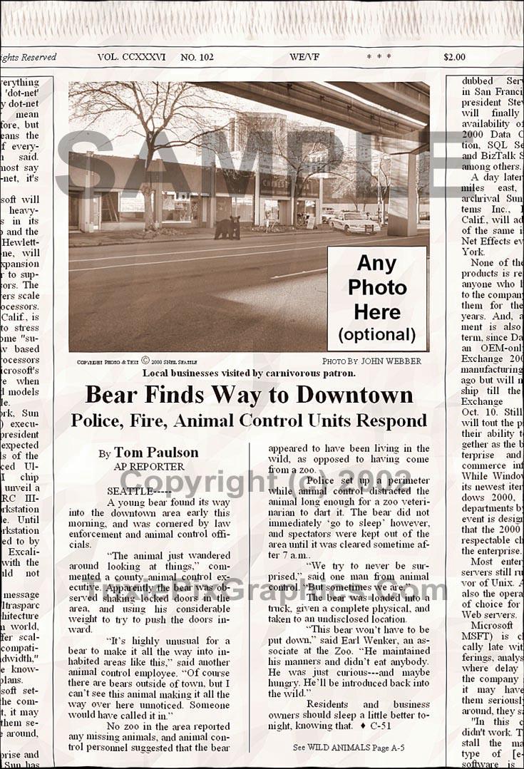 Fake Joke Newspaper Article BEAR FINDS WAY TO DOWNTOWN SEATTLE
