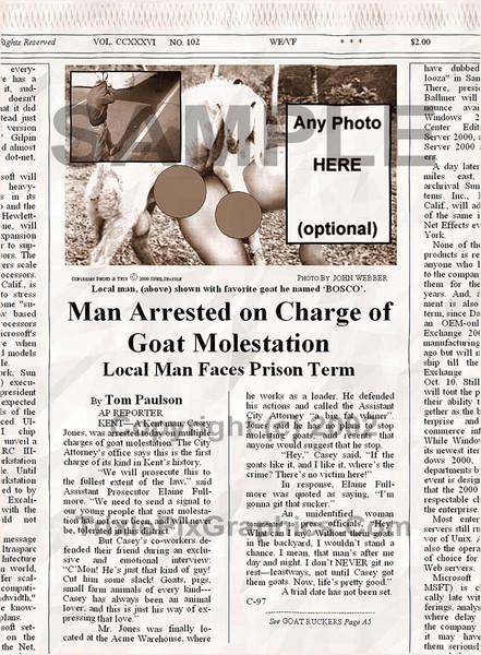 Fake Joke Newspaper Article MAN ARRESTED ON CHARGE OF GOAT MOLESTATION