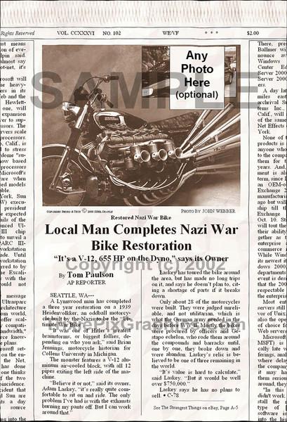 Fake Joke Newspaper Article RESTORED NAZI WAR BIKE