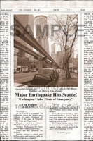 Fake Joke Newspaper Article QUAKE FLATTENS SEATTLE