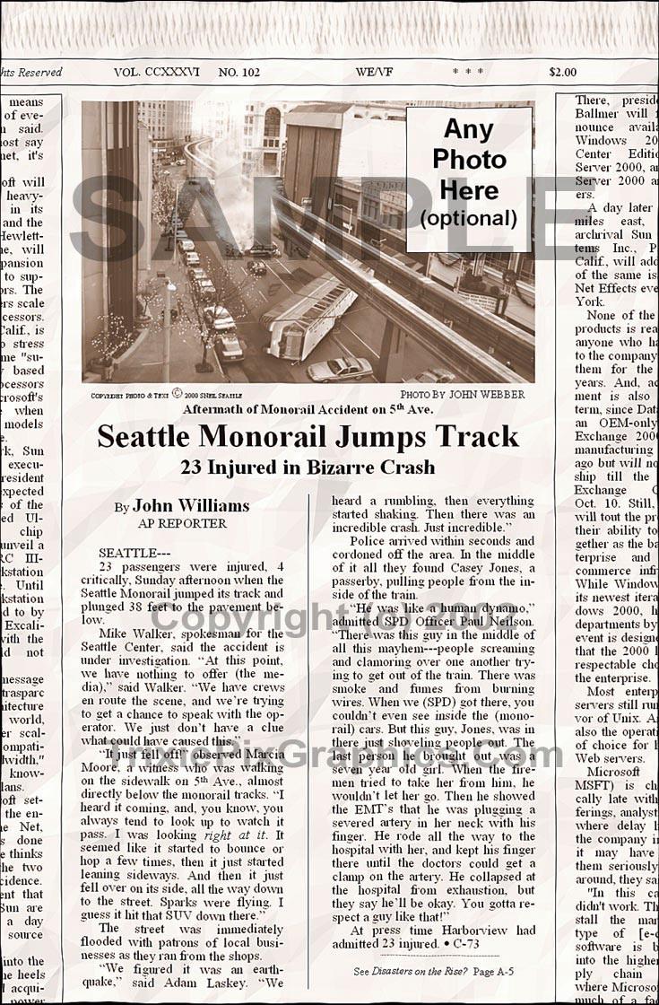 Fake Joke Newspaper Article SEATTLE MONORAIL JUMPS TRACK