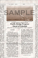 Fake Joke Newspaper Article PACIFIC BRIDGE PROGRESS AHEAD OF SCHEDULE