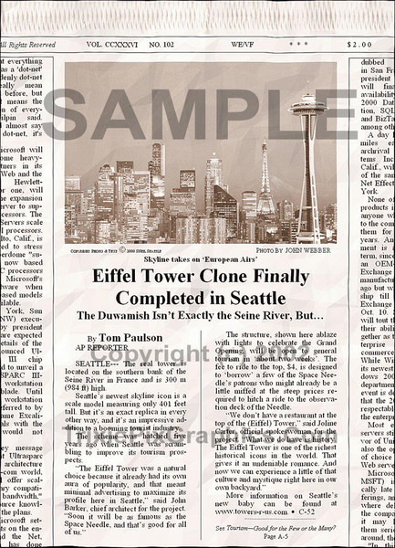 Fake Joke Newspaper Article EIFFEL TOWER CLONE FINALLY COMPLETED IN SEATTLE