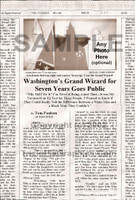 Fake Joke Newspaper Article WASHINGTON'S GRAND WIZARD FOR SEVEN YEARS GOES PUBLIC