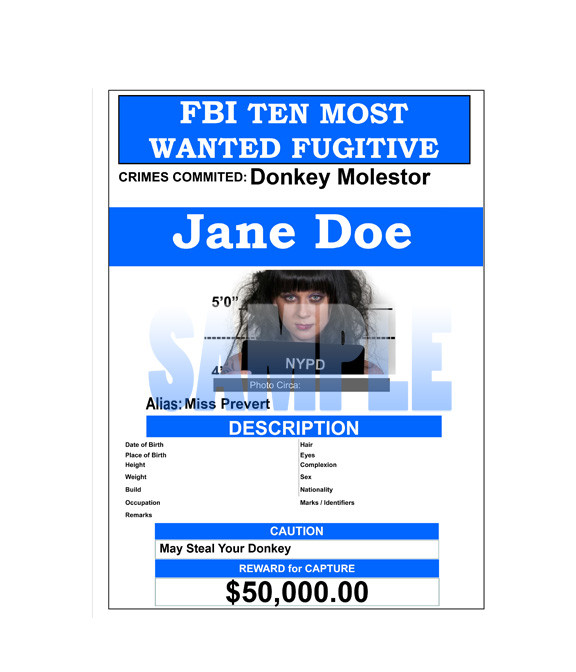 fake wanted poster fbi style. Black Bedroom Furniture Sets. Home Design Ideas