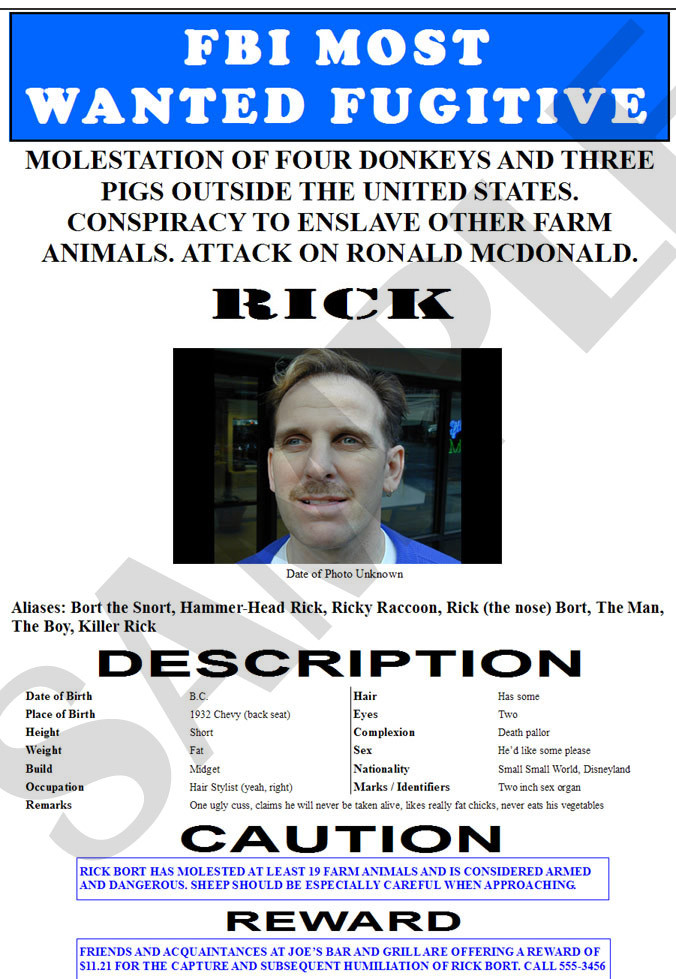 "Fake ""Wanted"" Poster, FBI Style"