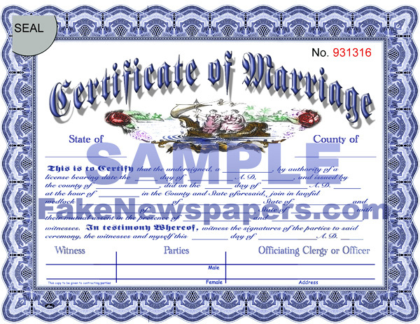 Fake Marriage Certificates