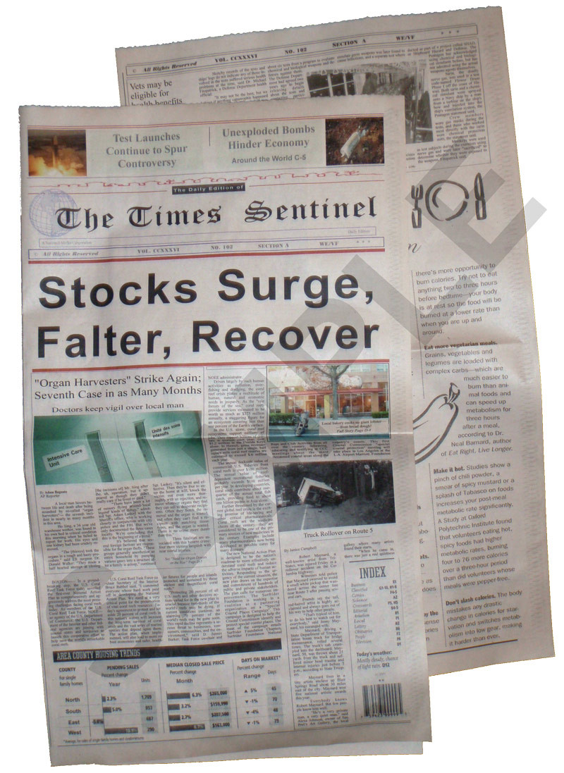 This example shows a Whole Size newspaper with the extra inside page. The Full Size looks the same, but it does not have page 3 and 4.