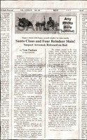 Fake Joke Newspaper Article SANTA CLAUS AND FOUR REINDEER SLAIN